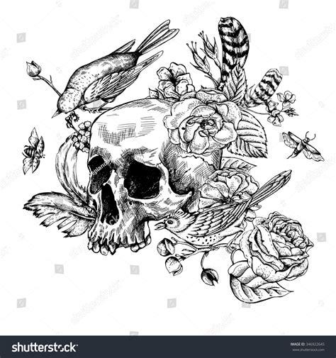 skull flowers roses birds feathers black stock vector  shutterstock