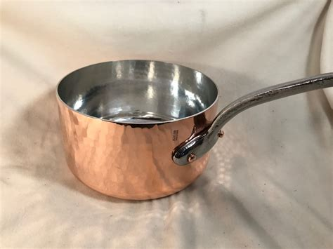 french mauviel hammered   copper tin lined sauce pan rocky mountain retinning