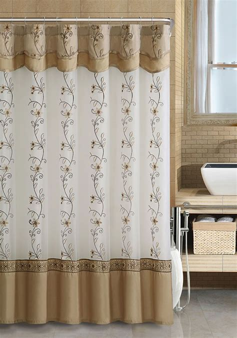 Fabric Valance by Vcny Beige Fabric Shower Curtain 2 Layered Embroidered