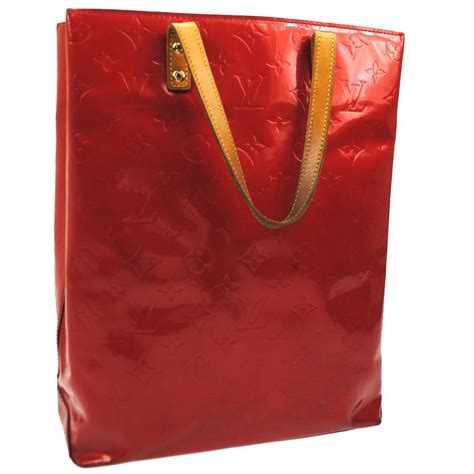 louis vuitton handbag satchel monogram red vernis tote bag
