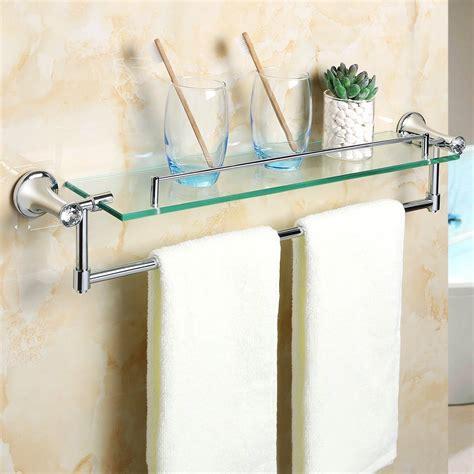 alise gy glass shelf bathroom shelves towel bar wall