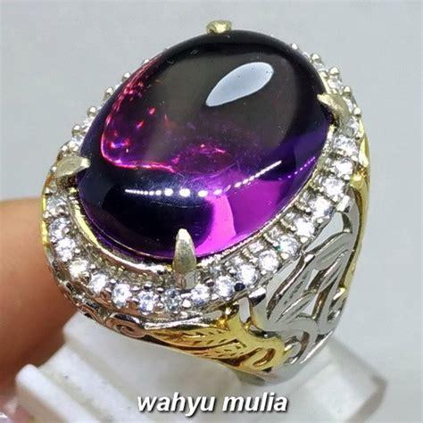 cincin batu kecubung ungu kalimantan borneo asli hq