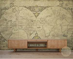 quotvintage world mapquot wall mural by pixers eclectic With kitchen cabinets lowes with antique world map wall art