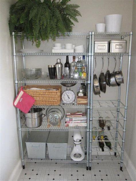 studio apartment kitchen storage organize pinterest open shelving bakers rack  wire