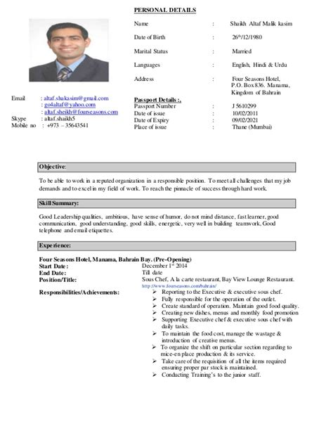 Curriculum Vitae For Pastry Chef by Chef Altaf C V 2015