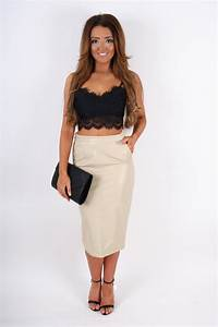 Khloe Beige Leather Look Pencil Skirt - Clothing from Dollywood Boutique UK