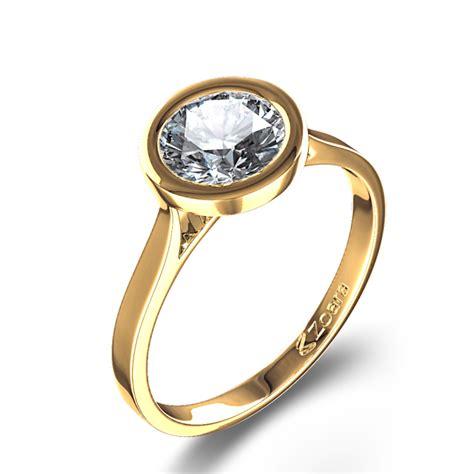 bezel setting exceptional bezel set round diamond engagement ring in 14k yellow gold