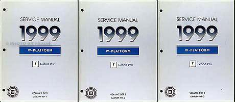 motor repair manual 1987 pontiac gemini instrument cluster 1999 pontiac grand prix repair shop manual original set