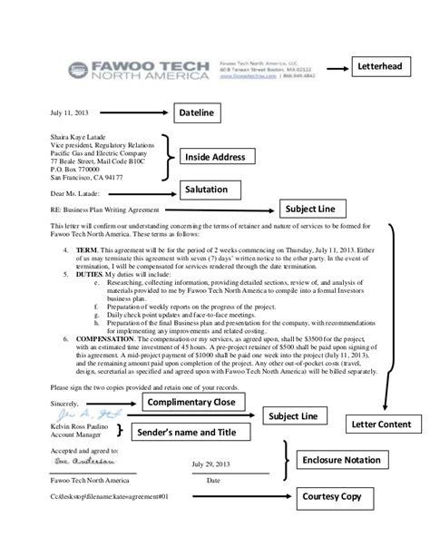 agreement letter parts  sample