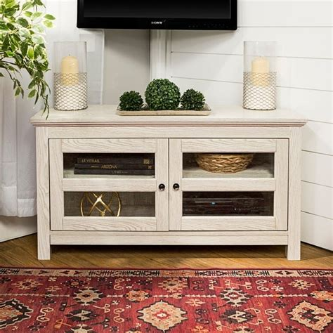 shop   white wash wood corner tv stand  sale
