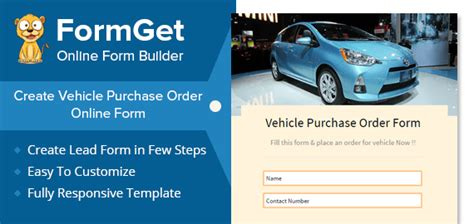 vehicle purchase order form  car showrooms dealers