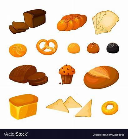 Bread Cartoon Kinds Different Vector Royalty