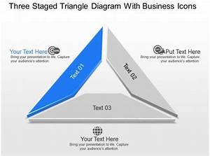 Three Staged Triangle Diagram With Business Icons Powerpoint Template Slide