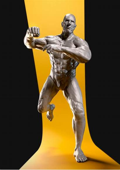 Sculpt Pose Running Punching Male