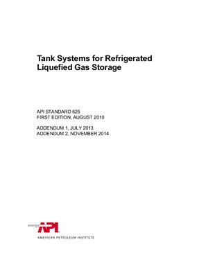 API Std 625-2014 Tank Systems for Refrigerated Liquefied