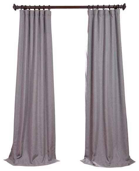 pepper gray heavy faux linen curtain traditional
