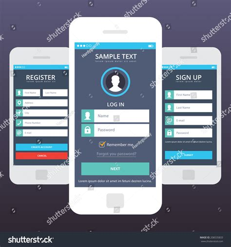 wireframe mobile app ui kit mobile stock vector