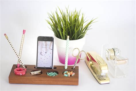 modern desk organizer   block  wood