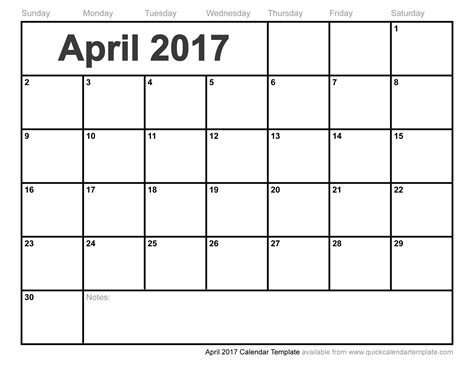 Free Templates Excel April 2017 Calendar Printable Free Calendar 2017
