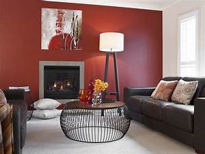 Lounge Room Red Feature Wall - Inspirations Paint