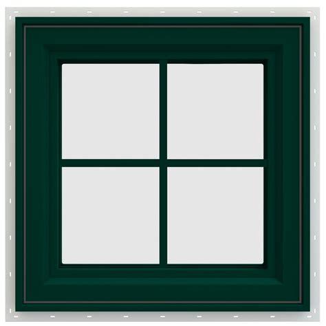 jeld wen        series left hand casement vinyl window  grids green