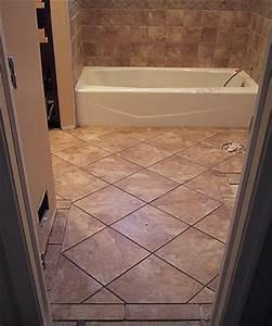 Bathroom remodeling tiling a small bathroom floor design for Floor tile patterns for small bathroom