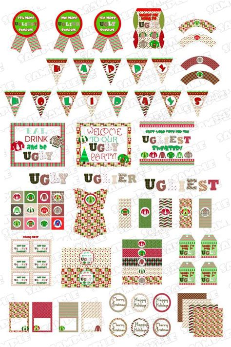 ugly christmas sweater party decorations printable party