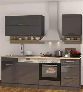 Küche 220 Cm : k chenzeile m nchen vario 1 k che mit e ger ten breite 220 cm hochglanz grau graphit ~ Eleganceandgraceweddings.com Haus und Dekorationen