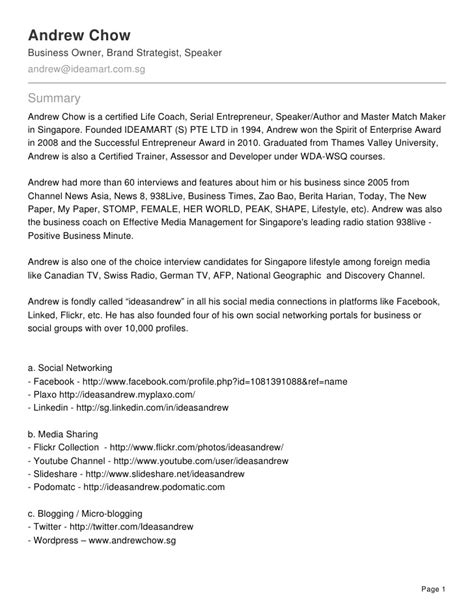 resume of andrew chow the brand strategist