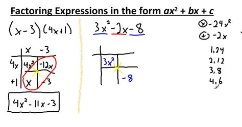 Expanding And Factoring Ax^2+bx+c Using The Box Method Youtube