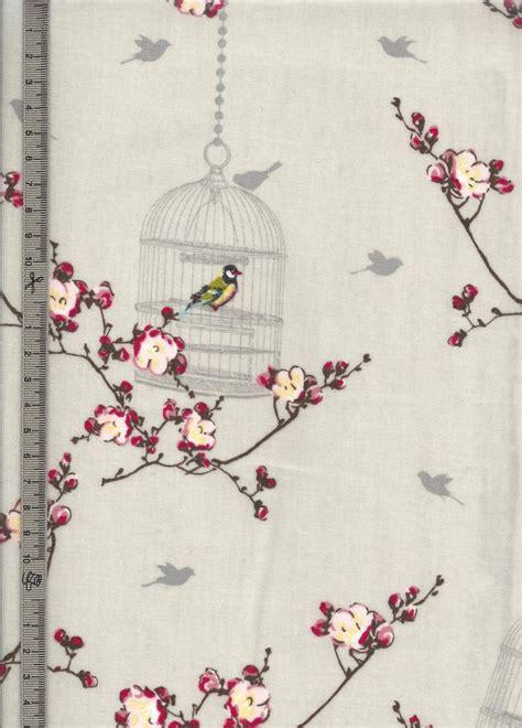 au maison toile ciree toile cir 233 e cr 232 me motif cage aux oiseaux fleurs de pommiers vendu au coupon maison d 233 coration