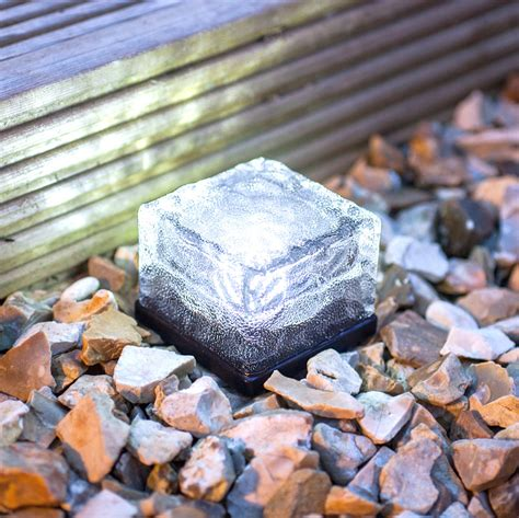 small white led glass brick solar garden path light
