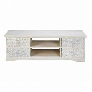 Meuble Tv Manguier : meuble tv en manguier sculpt et blanchi namaste maisons du monde ~ Teatrodelosmanantiales.com Idées de Décoration