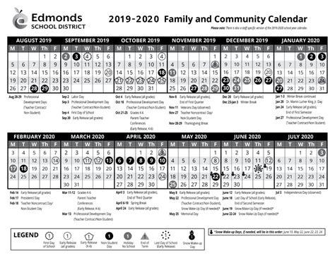 calendars parent handbook edmonds school district