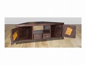 Meuble Angle Bois : meuble tv d 39 angle travel manguier 2 portes 2 tiroirs ~ Edinachiropracticcenter.com Idées de Décoration