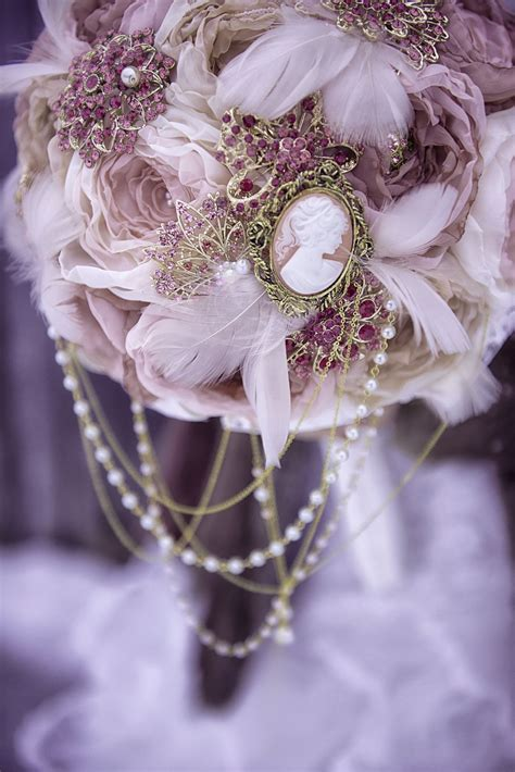 Custom Victorian Brooch Bouquet Vintage Blush Fabric