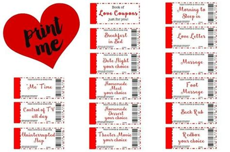 printable love coupons  perfect gift love
