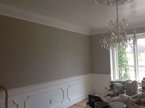 revere pewter wall with wainscoting and crystal chandelier crown moulding paint colors in