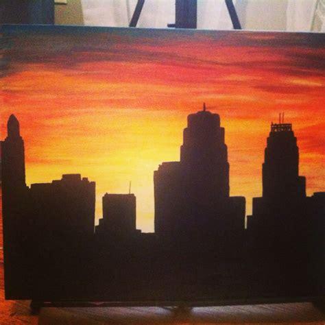 hand painted acrylic kansas city skyline   canvas