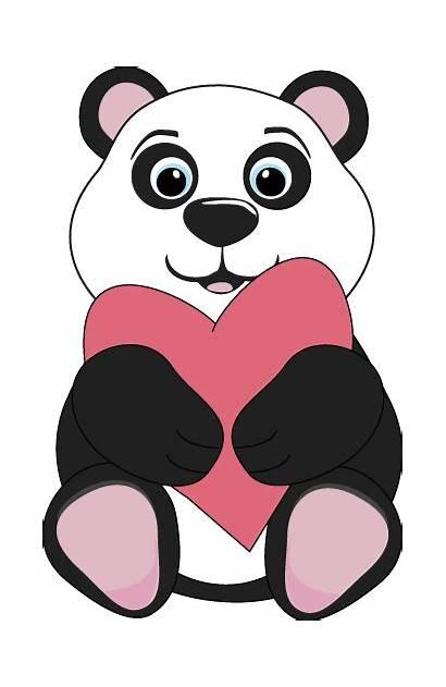 Clip Bear Panda Clipart Heart Thank Hugging