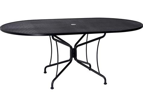 woodard wrought iron 72 x 42 oval umbrella table 8 spoke