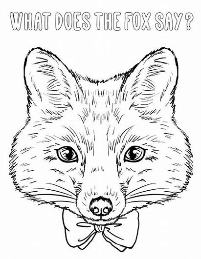Fox Coloring Head Say Does Pages Printable