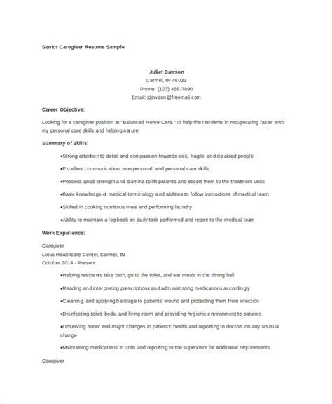 caregiver resume exle 7 free word pdf documents