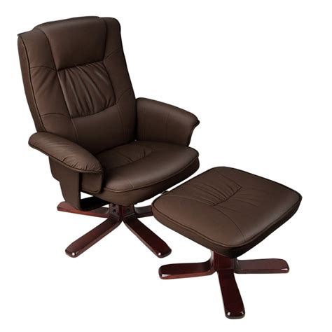 leather lounge chair with ottoman brown swivel pu leather recliner armchair w ottoman buy