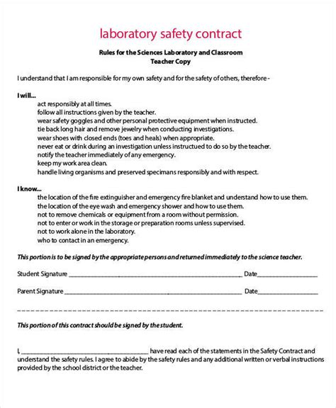 Contract For Safety Template by 9 Safety Contract Sles Templates Sle Templates