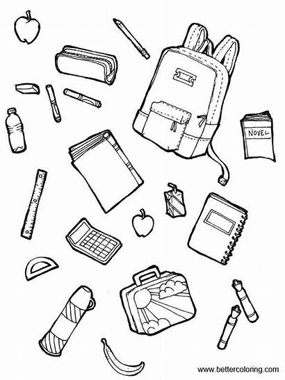 Supplies Coloring Pages Foods Printable Adults