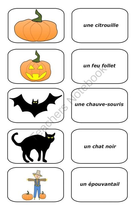 17 Best Images About French  Halloween On Pinterest  Free French, Vocabulary Word Walls And