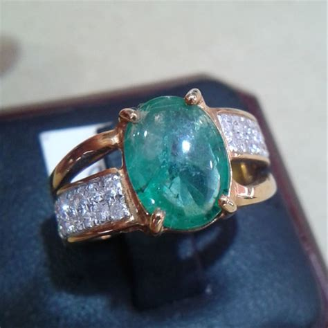 jual cincin wanita berlian eropa mata zamrud 0274 ring emas cincin dan batu batu permata di