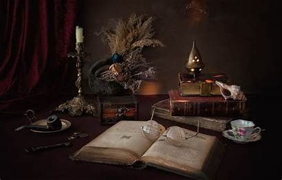 Books Candle Flowers Still Dried Glasses Key