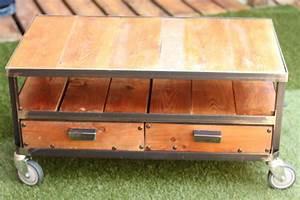 Table Basse Fer Et Bois : table basse fer et bois esprit loft partceque le blog de sophie bernard reymond ~ Teatrodelosmanantiales.com Idées de Décoration